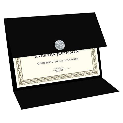 Geographics Tri Fold Black Certificate Holder, Linen Texture, 9.25