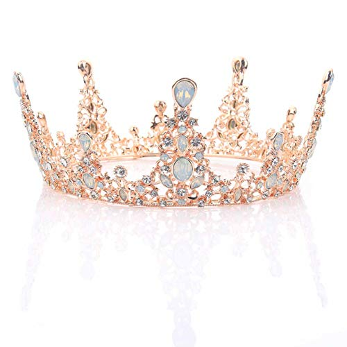 Unicra Wedding Rose Gold Queen Crowns and Tiaras Decorative Bridal Tiaras and Crowns for Brides