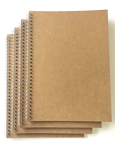 VEEPPO 4 Pack B5 Dot Grid Spiral Notebooks and Journals Bulk 7.6 x 10.4inch Kraft Cardboard Cover Thick 5mm Dotted White Paper (B5-4 Pack 5mm Dot -
