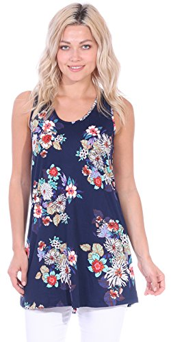 Popana Women's Casual Sleeveless Summer Floral Tunic Tank Tops S-3X Made in (Premium Summer Staple)