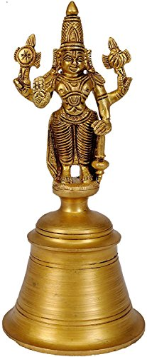 Purpledip Rare Collection Worship Bell With Lord Vishnu Sculpture: Designed In Solid Brass Metal For Hindu Temple Pooja; Indian gift ideas (10521) (Brass Temple Bell)