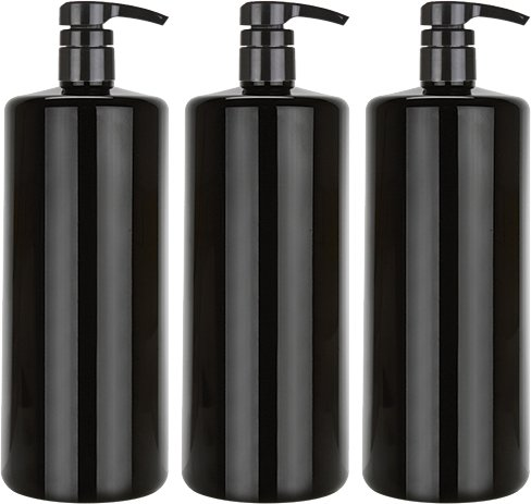 Bar5F Empty Shampoo Bottle with Lotion Pump, Black, Great 1 Liter/32 Ounce Refillable Dispensing Containers for Conditioner, Body Wash, Hair Gel, Liquid Soap, DIY Lotion s and Massage Oil s (PK 3)