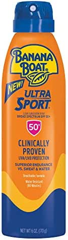 Banana Boat Ultra Sport Sunscreen Spray, New Formula, SPF 50+, 6 Ounces