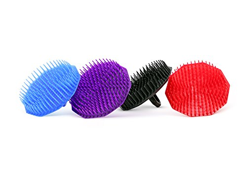 Price comparison product image Scalp Shampoo Brush, Assorted Color Plastic Bristles with Finger Ring (Pack of 1)