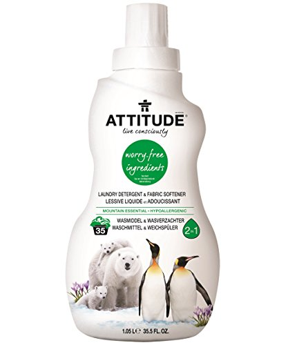ATTITUDE Hypoallergenic 2 in 1 Laundry Detergent & Fabric Softener, Mountain Essential, 35.5 Fluid Ounce, 35 Loads (Attitude Baby Detergent)