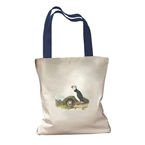 Atlantic Puffin James Audubon Birds Canvas Colored Handles Tote Bag - Royal Blue ()