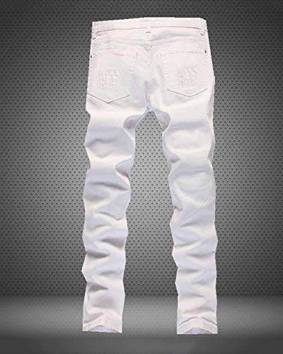 Pantalones De Clásico Retros De Mezclilla Holes Pierna De Vaqueros De Los Los Pantalones Vaqueros del Pantalones Chicos Blanco La Ripped Fit Vaqueros Pantalones De Largos Ocio T Los Slim Hombres Wqwqgr0En