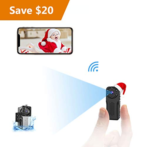 WiFi Waterproof Mini Spy Hidden Camera, NIYPS HD 1080P Covert Security Video Camera, Wireless Nanny Cam with Night Vision and Motion Detection, Portable Small Surveillance Camera for Indoor/Outdoor ()