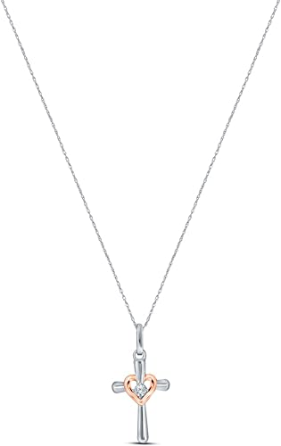 0.03ct Round Cut Diamond Key-to-Heart Charm Necklace Pendant in 14k Yellow Gold