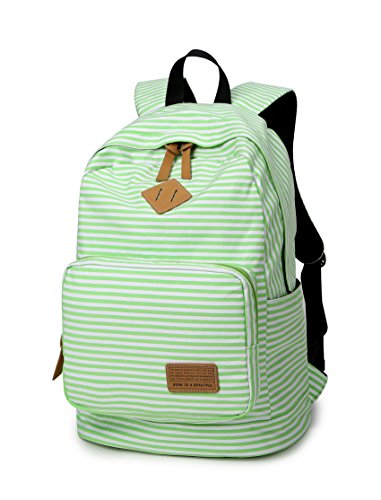 Green Striped Backpack (Spalison Striped Canvas Backpack Girls School Bag Women Casual Travel Daypack)