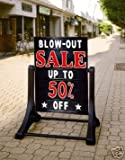 Deluxe Swinging Sidewalk Message Board Sign Black Model