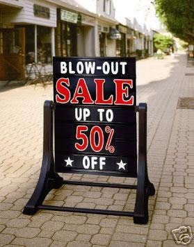 Deluxe Swinging Sidewalk Message Board Sign Black Model