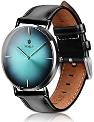 SHMILY quartz wrist watch, classic casual waterproof analog dress with genuine leather strap for men, women, girls...