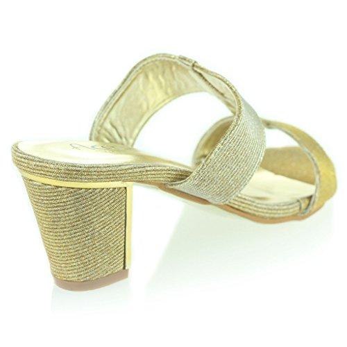 Mujer Señoras Brillar Resplandecer T Bar Ponerse Tacón de Bloque Noche Casual Fiesta Sandalias Zapatos Tamaño Oro