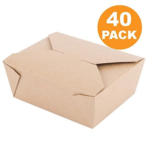 """[40 Pack] 45 oz 6 x 5.75 x 2.5"""" Disposable Paper Take Out Food Containers, Microwaveble Folding Natural Kraft to Go Boxes #8"""