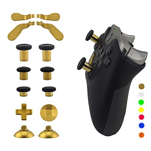 WPS Metal Alloy Bumper Trigger Button Set for XBOX One Elite Controller with Open Tools ( T6 T8 ) - Gold