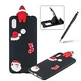 TPU Case for Xiaomi Redmi S2,Soft Rubber Cover for Xiaomi Redmi S2,Herzzer Ultra Slim Stylish 3D Christmas Santa Claus Series Design Scratch Resistant Shock Absorbing Flexible Silicone Back Case - Black