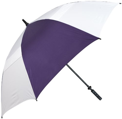Haas-Jordan Hurricane 345 Auto-Open Golf Umbrella (Purple/White 62-Inch)