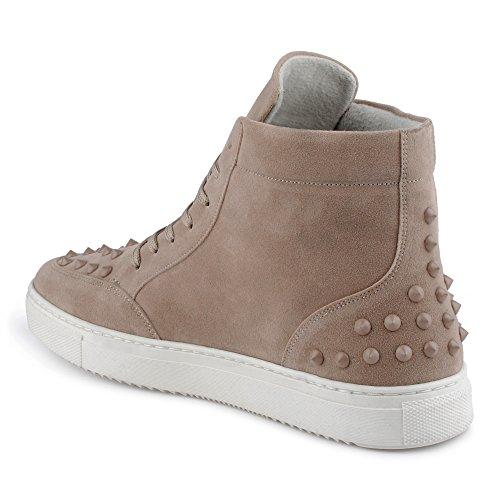 FiveSix Herren Sportschuhe High Top Sneaker Nieten Basketballschuhe Velours-Optik Freizeitschuhe Schuhe Beige