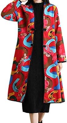 Lookatool LLC Women's Folk-Custom Print Long Cotton Thick Jacket