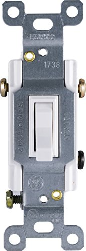 GE Grounding Toggle Switch, 3-Way, In Wall On/Off Fan & Light Switch Replacement, 15 Amp, Great for Home, Office & Kitchen, UL Listed, White, 54172