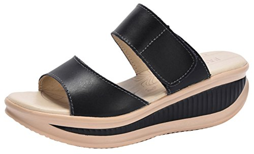 [Passionow Women's Casual Fashion Open Toe Velcro Comfort Platform Flat Slip-on Sandals (7.5] (Slender Man Costume Review)