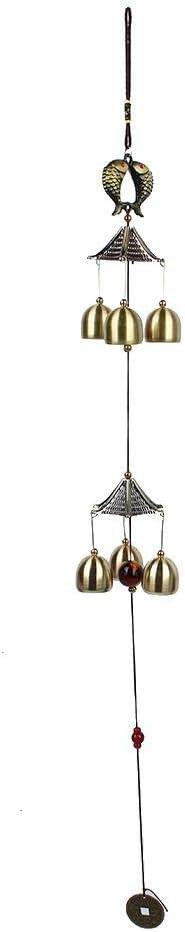 AUNMAS Cobre Wind Chime Estilo Pastoral Pescado Diseñado Grande Campana Colgante Portátil para la Decoración del Partido En Casa Regalo de los Amigos(3#)