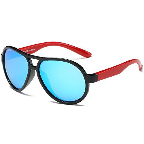 SojoS Kids Flexible Double Bridge Polarized Boys Girls Aviator Sunglasses SK206 With Black Frame/Blue - Kids Sunglasses Uv