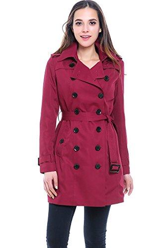 Belted Mid Length Coat - BGSD Women's Viv Hooded Mid Length Trench Coat - Raspberry M