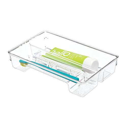 mDesign Plastic Toothbrush Holder, Storage Organizer Bin for Bathroom Vanity, Drawer, Cabinet, Closet - Holds Electric Spin Toothbrush, Toothpaste, Dental Floss Picks, Teeth Whitening Strips - - Drawer Toothbrush Holder In