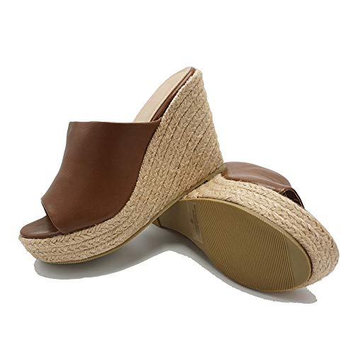 - ShoBeautiful Women's Espadrille Platform Wedge Heel Peep Toe PU Sandals Summer Fashion Slippers EM04 Tan 8