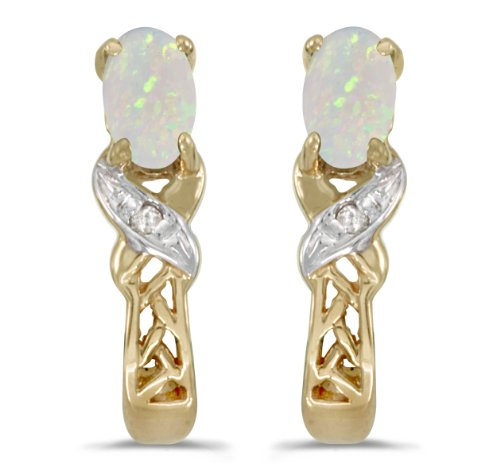 (0.16 Carat (ctw) 10k Yellow Gold Oval White Opal and Diamond Infinity Weave Pattern Stud Earrings with Post with Friction Back (5 x 3)