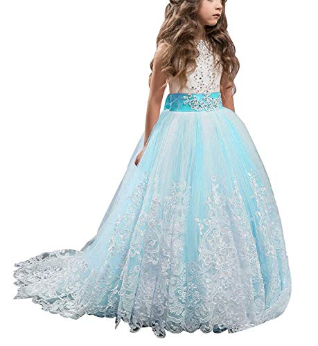KSDN Wedding Flower Girls Dresses Princess Gowns First Communion Pageant Gowns(US 8 Powder Blue)
