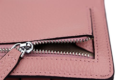 Women's RFID Blocking Small Genuine Leather Wallet Ladies Mini Card Case Purse (Pink) by KELADEY (Image #3)