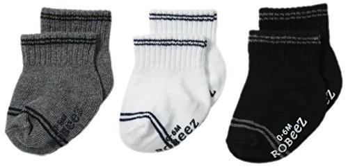 Robeez Baby Boys' 3-Pack Socks, Goes with Everything - Grey, 6-12 Months ()
