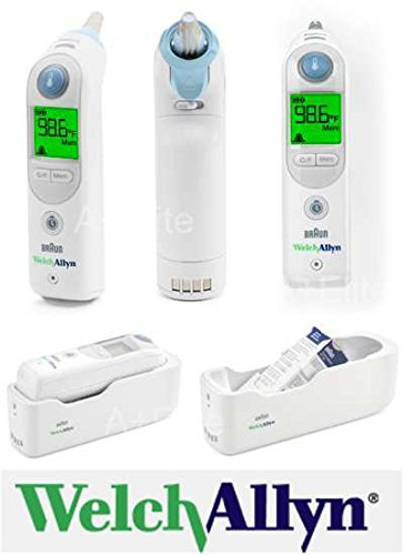 Welch Allyn Braun Thermoscan PRO 6000 Ear Thermometer With Small Cradle And 20 Probe Coves (Successor to 4000 Model)