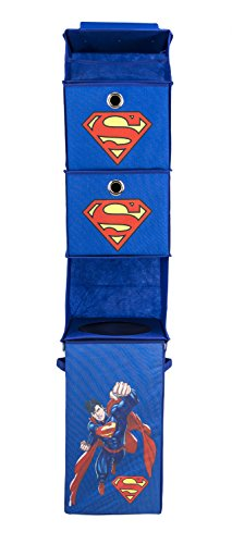 Modern-Littles-Superman-Closet-Hanging-Organizer--2-Storage-Compartments-1-Removable-Laundry-Bin--105-Inches-x-105-Inches-x-525-Inches