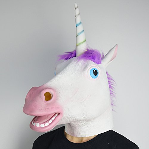 Amazlab Unicorn Mask for Halloween Costume Party Decorations, Halloween Props, Halloween (Homemade Unicorn Costume)