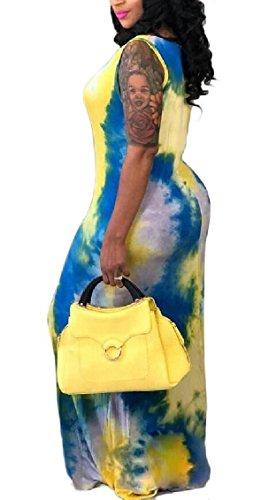 Jaycargogo Encolure Dégagée Sans Manches Tie Dye Moulantes Femmes Longues Robes Maxi 2