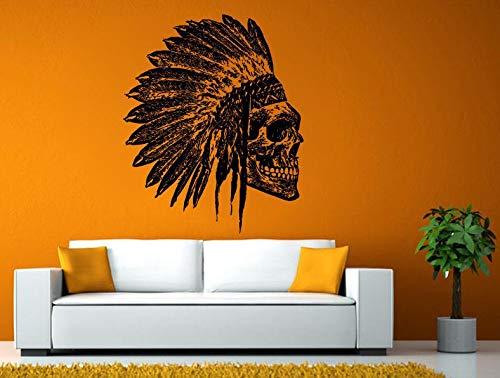 AdecalsNew Wall Decals Cute-Skull Indian Mayan Head Ancient Warrior Wall or Window Sticker Decal Vinyl Fathead Mural Decor - Made in USA-Fast delivery ()