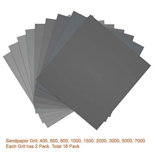 Lvcky Schleifpapier f/ür Auto 18 St/ück K/örnung 400 600 800 1000 1500 2000 3000 5000 7000 f/ür Nass- und Trocken-Schleifpapier hohe K/örnung 22,9 x 27,9 cm