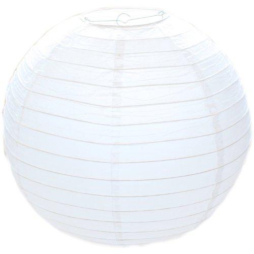 Papierlampenschirm, geriffelt, rund, 30 cm, Weiß / Bambus-Stil
