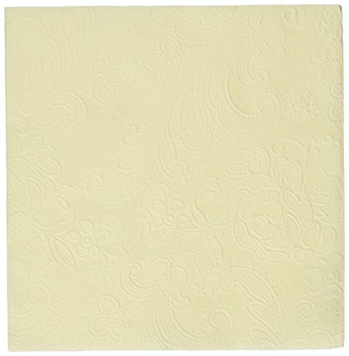 Paperproducts Design 7299 Beverage/Cocktail Embossed Lace Elegant Paper Napkin, 5 by 5-Inch, Ivory