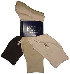 Polo Ralph Lauren Set of Three Men\'s Dress Socks- Multi - (Beige, Tan, Brown) (Size 10-13)