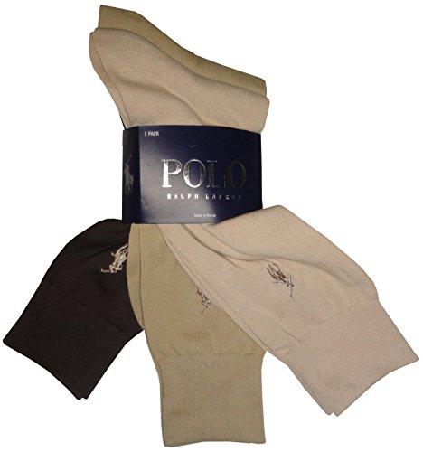 Polo Ralph Lauren Set of Three Men's Dress Socks- Multi - (Beige, Tan, Brown) (Size 10-13) (Dress Socks Tan)