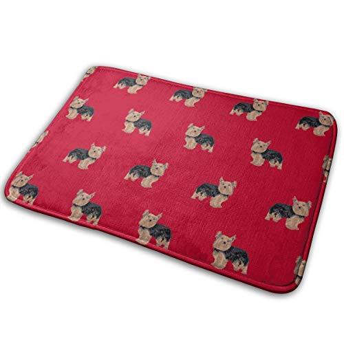 shirt home Yorkie Yorkshire Terrier Dogs - Red_16371 Doormat Entrance Mat Floor Mat Rug Indoor/Outdoor/Front Door/Bathroom Mats Rubber Non Slip 23.6