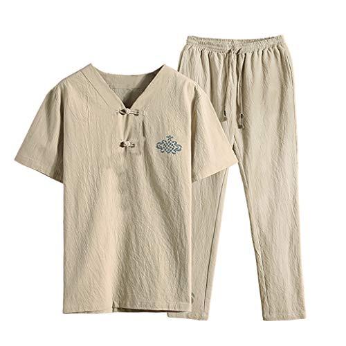 Kaister Men's Short Sleeve Jumpsuit Overalls Pants Suit Summer Fashion Casual Print Cotton Hemp Shorts Khaki (Best Women's Bike Chamois)