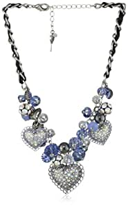 """Betsey Johnson """"Iconic Bonjour Butterfly"""" Heart and Cherry Bead Statement Necklace"""