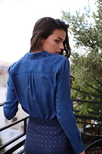 Femme De En Soie Soi Chemise Bleu Minuit qxt4AgW