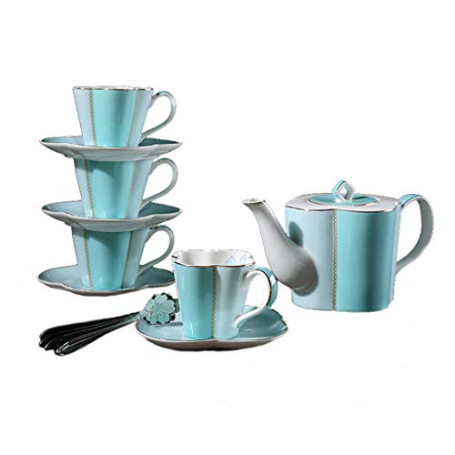 - YI HOME- Teapot Set Ceramic Sakura Shape With Filter English Pink Tea Cup Kettle Pot Blue Coffee Mug Saucer Spoon,Blue